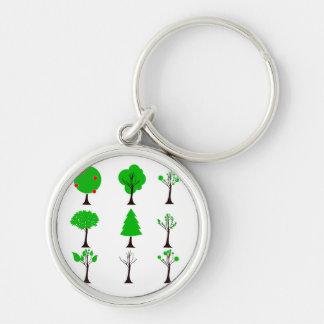 eco simples design.png de nove gráficos da árvore chaveiro redondo na cor prata