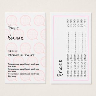 """""""Ecoa"""" cartões de preço do consultante de SEO"""