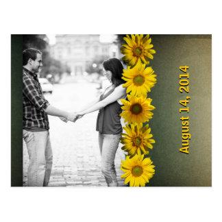 Economias amarelas de papel da foto do girassol do cartão postal