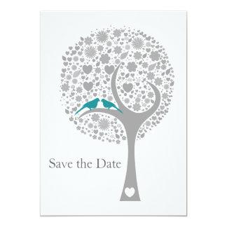 economias azuis da modificação dos lovebirds da convite 12.7 x 17.78cm