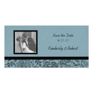 Economias azuis do casamento do papel de parede da cartão com foto