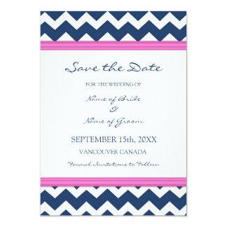 Economias azuis do casamento do rosa quente o convite 12.7 x 17.78cm