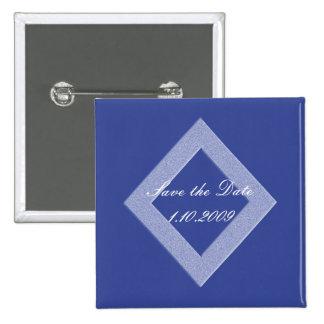 Economias azuis do diamante o Pin da data Bóton Quadrado 5.08cm