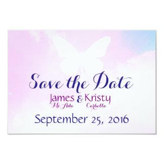 Economias brancas do céu do rosa da borboleta o convite 8.89 x 12.7cm