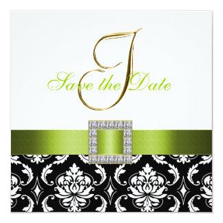 Economias brancas pretas verdes do damasco o convite quadrado 13.35 x 13.35cm