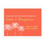 Economias corais do chique do casamento do verão cartão postal