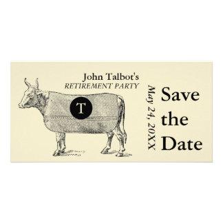 Economias da aposentadoria da vaca do vintage o cartão com foto