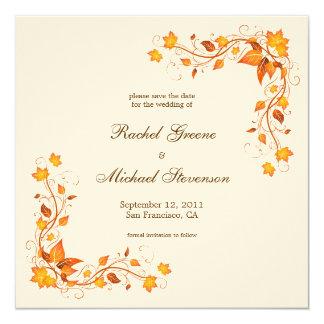 Economias da folha do outono o cartão de casamento convite quadrado 13.35 x 13.35cm