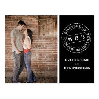 Economias da foto do casamento do carimbo postal o cartão postal