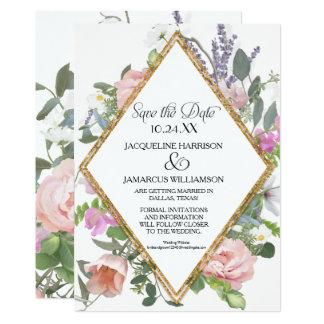 Economias da foto o floral romântico do brilho do convite 12.7 x 17.78cm