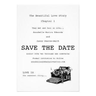 Economias da máquina de escrever do vintage a data convite personalizado