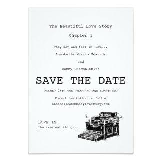 Economias da máquina de escrever do vintage a data convite 12.7 x 17.78cm