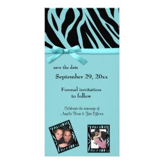 Economias da zebra da cerceta o anúncio da data cartões com fotos personalizados