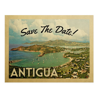 Economias de Antígua os cartão do vintage da data