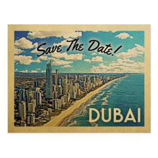 Economias de Dubai os cartão do vintage da data