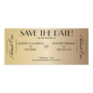 Economias do bilhete do filme o anúncio da data convite 10.16 x 23.49cm