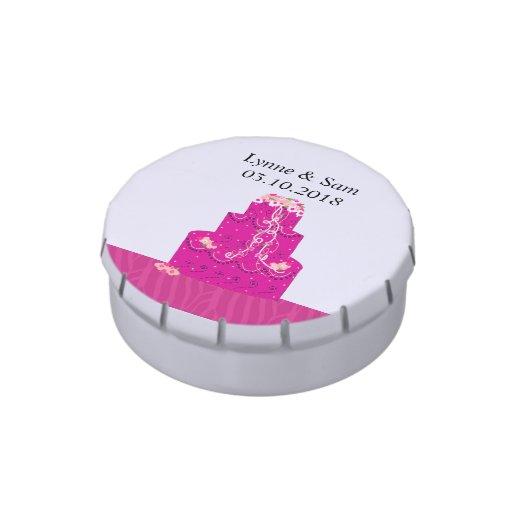 Economias do bolo de casamento do rosa quente a da latinhas para personalizar
