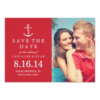Economias do casamento da foto da âncora a data convite 12.7 x 17.78cm