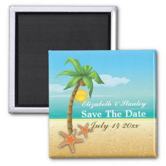 Economias do casamento de praia da palmeira & da ímã quadrado
