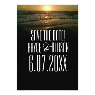 Economias do casamento de praia do por do sol a convite 12.7 x 17.78cm