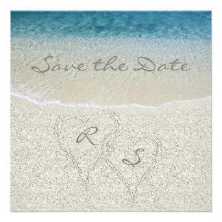 Economias do casamento de Sandy Beach do brilho a  Convites Personalizados
