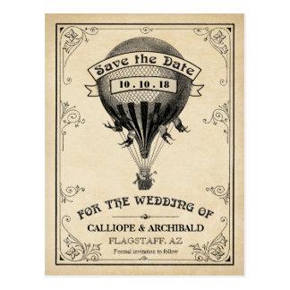 Economias do casamento do balão de ar quente do cartão postal