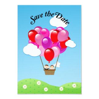 Economias do casamento do balão de ar quente do convite 12.7 x 17.78cm