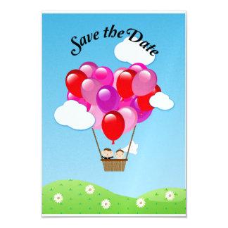 Economias do casamento do balão de ar quente do convite 8.89 x 12.7cm