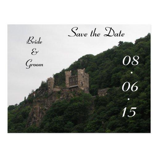 Economias do casamento do castelo a data cartões postais