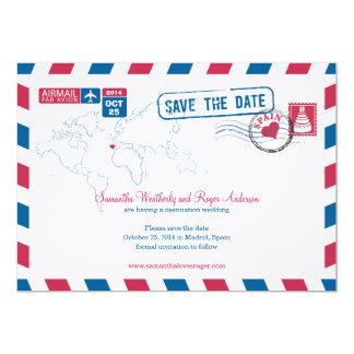 Economias do casamento do correio aéreo da espanha convite 12.7 x 17.78cm