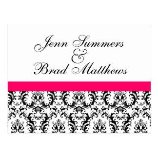 Economias do casamento do rosa quente do damasco a cartão postal
