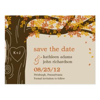 Economias do casamento outono do carvalho o cartão