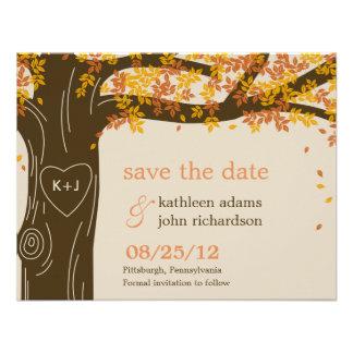 Economias do casamento outono do carvalho o cartão convite