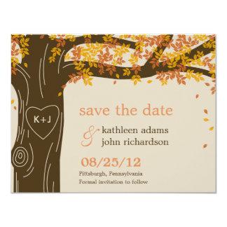 Economias do casamento outono do carvalho o cartão convite 10.79 x 13.97cm