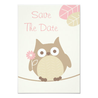 Economias do chá de fraldas da coruja da menina a convite 8.89 x 12.7cm