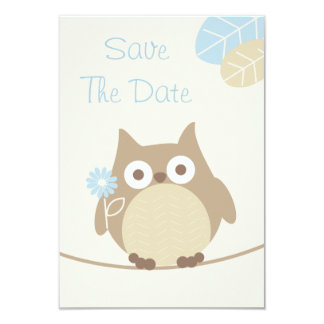 Economias do chá de fraldas da coruja do menino a convite 8.89 x 12.7cm