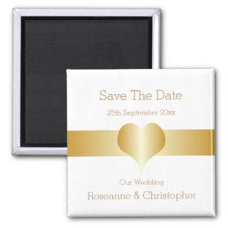 Economias do coração do ouro o casamento da data ímã quadrado