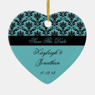 Economias do damasco do preto da cerceta do ornamento de cerâmica coração