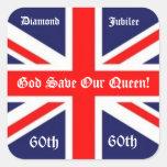 Economias do deus nossa rainha! - 60 anos/bandeira adesivos quadrados