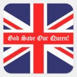 Economias do deus nossa rainha! - Bandeira britâni Adesivo Quadrado