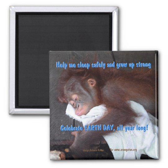 Economias do Dia da Terra o bebê do orangotango Imã
