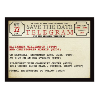 Economias do estilo do telegrama do vintage a data convite 11.30 x 15.87cm