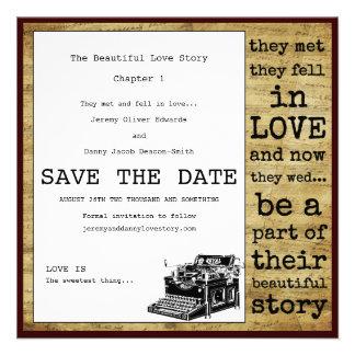 Economias do gay da máquina de escrever do vintage convite personalizados