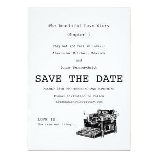 Economias do gay da máquina de escrever do vintage convite 12.7 x 17.78cm