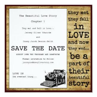 Economias do gay da máquina de escrever do vintage convite quadrado 13.35 x 13.35cm