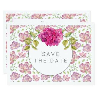 Economias do Hydrangea da aguarela do rosa quente Convite 8.89 X 12.7cm