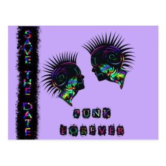 Economias do Mohawk wedding do punk rock do cartão Cartão Postal
