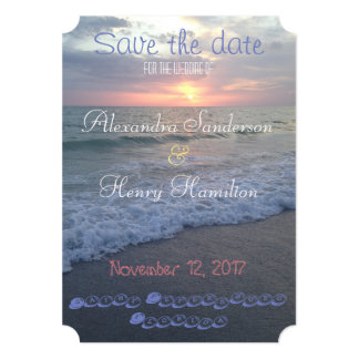 Economias do por do sol da praia de Florida a data Convite 12.7 X 17.78cm