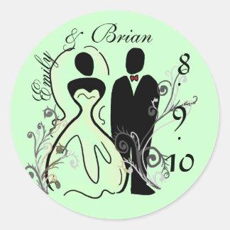 Economias dos noivos as etiquetas da data adesivo