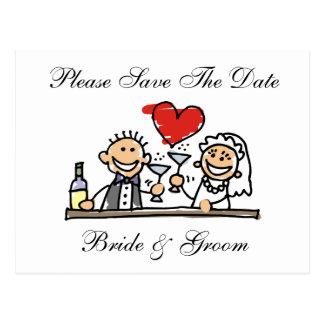 Economias dos noivos o cartão de datas cartao postal